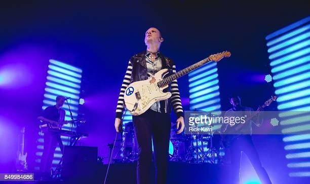 Musicians Jacob Berry Alex Trimble and Kevin Baird of Two Door Cinema Club perform in concert at ACL Live on September 19 2017 in Austin Texas