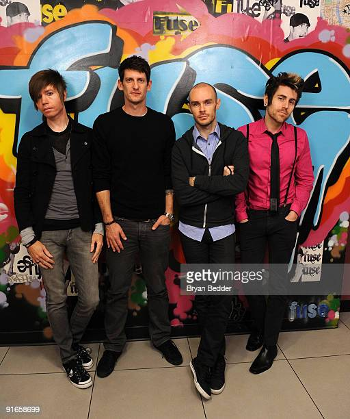 Musicians Jade Puget Adam Carson Hunter Burgan and Davey Havok of the band AFI visit fuse TV's 'Distortion' at fuse Studios on October 9 2009 in New...