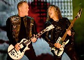 Musicians James Hetfield and Kirk Hammett of Metallica perform onstage at CBS RADIO's third annual 'The Night Before' at ATT Park Presented by...