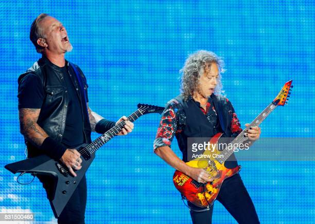 Musicians James Hetfield and Kirk Hammett of Metallica perform on stage at BC Place on August 14 2017 in Vancouver Canada