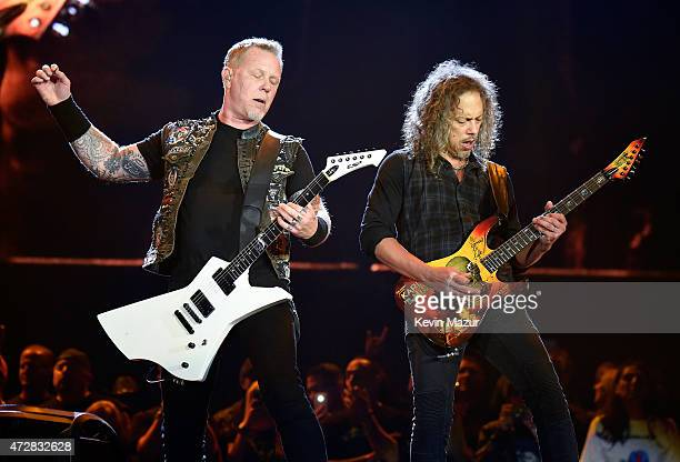Musicians James Hetfield and Kirk Hammett of Metallica perform onstage during Rock in Rio USA at the MGM Resorts Festival Grounds on May 9 2015 in...