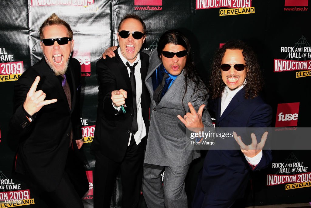 Musicians James Hetfield, Lars Ulrich, Robert Trujillo and Kirk Hammett of Metallica attend the 24th Annual Rock and Roll Hall of Fame Induction Ceremony at Public Hall on April 4, 2009 in Cleveland, Ohio.