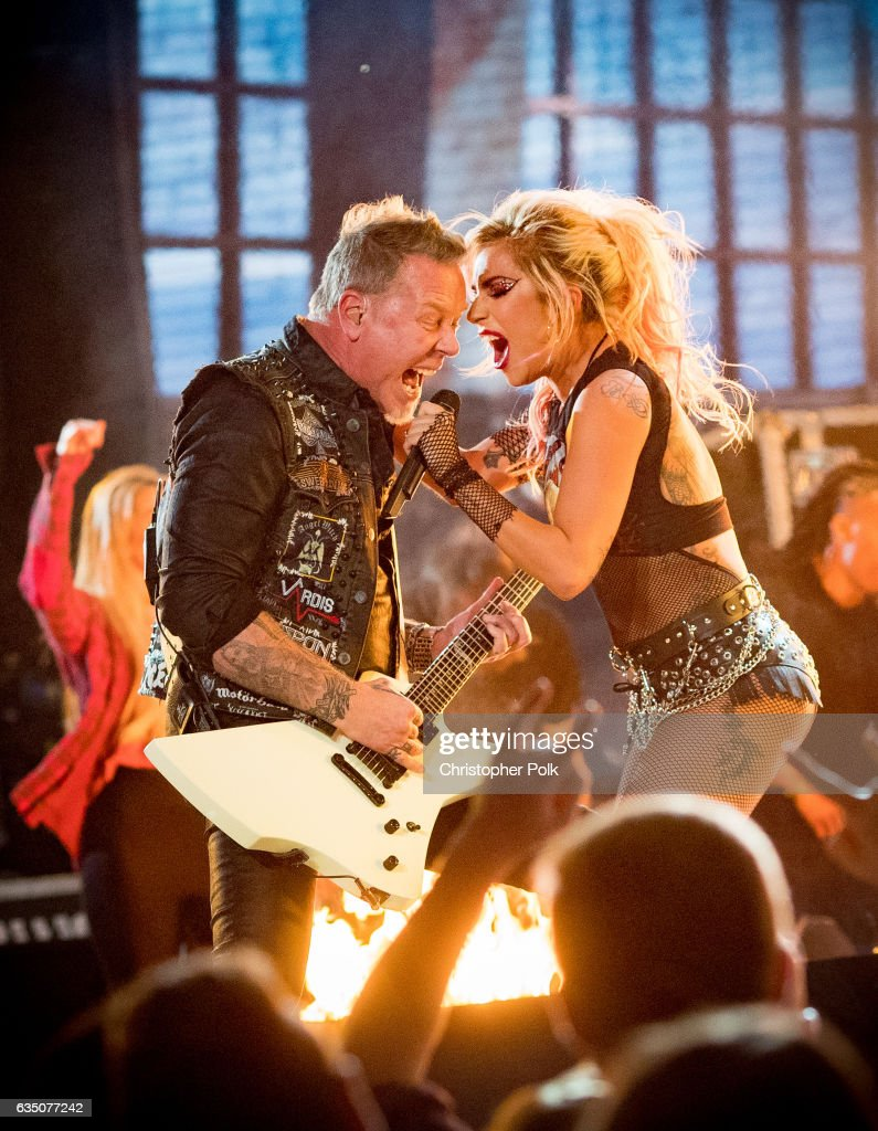 Musicians James Hetfield of Metallica and Lady Gaga during The 59th GRAMMY Awards at STAPLES Center on February 12, 2017 in Los Angeles, California.