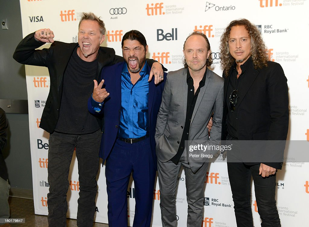 Musicians <a gi-track='captionPersonalityLinkClicked' href=/galleries/search?phrase=James+Hetfield&family=editorial&specificpeople=178297 ng-click='$event.stopPropagation()'>James Hetfield</a>, <a gi-track='captionPersonalityLinkClicked' href=/galleries/search?phrase=Robert+Trujillo&family=editorial&specificpeople=213071 ng-click='$event.stopPropagation()'>Robert Trujillo</a>, <a gi-track='captionPersonalityLinkClicked' href=/galleries/search?phrase=Lars+Ulrich&family=editorial&specificpeople=209281 ng-click='$event.stopPropagation()'>Lars Ulrich</a> and <a gi-track='captionPersonalityLinkClicked' href=/galleries/search?phrase=Kirk+Hammett&family=editorial&specificpeople=204665 ng-click='$event.stopPropagation()'>Kirk Hammett</a> arrive at the 'Metallica: Through The Never' Premiere during 2013 Toronto International Film Festival at Scotiabank Theatre on September 9, 2013 in Toronto, Canada.