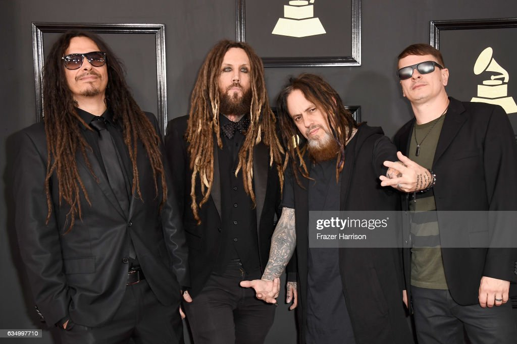 Musicians James Shaffer, Brian Welch, Reginald Arvizu, and Ray Luzier of Korn attend The 59th GRAMMY Awards at STAPLES Center on February 12, 2017 in Los Angeles, California.