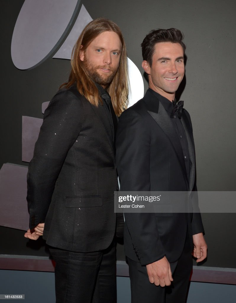 Musicians <a gi-track='captionPersonalityLinkClicked' href=/galleries/search?phrase=James+Valentine&family=editorial&specificpeople=213028 ng-click='$event.stopPropagation()'>James Valentine</a> (L) and <a gi-track='captionPersonalityLinkClicked' href=/galleries/search?phrase=Adam+Levine+-+Singer&family=editorial&specificpeople=202962 ng-click='$event.stopPropagation()'>Adam Levine</a> attend the 55th Annual GRAMMY Awards at STAPLES Center on February 10, 2013 in Los Angeles, California.