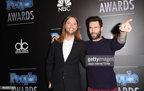 Musicians James Valentine and Adam Levine of Maroon 5 attend the PEOPLE Magazine Awards at The Beverly Hilton Hotel on December 18 2014 in Beverly...