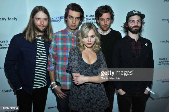 Musicians James Valentine of Maroon 5 and Michael Runion Z Berg Jason Boesel and Alex Greenwald of the band JJAMZ attend the Premiere Party presented...