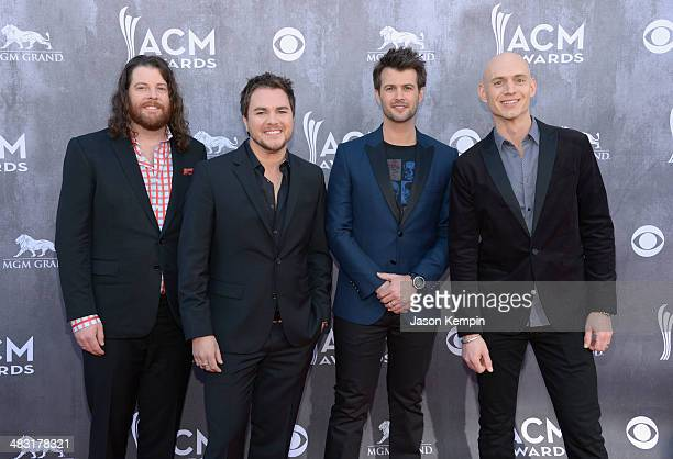 Musicians James Young Mike Eli Chris Thompson and Jon Jones of the Eli Young Band attends the 49th Annual Academy Of Country Music Awards at the MGM...