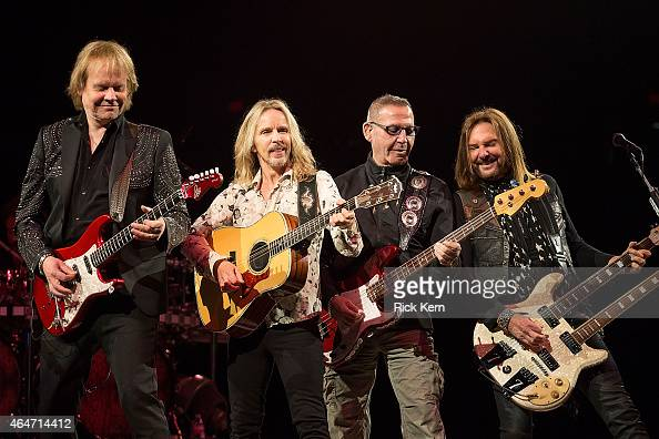 Musicians James Young Tommy Shaw Chuck Panozzo and Ricky Phillips of Styx perform in concert as part of the San Antonio Stock Show Rodeo at the ATT...