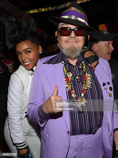 Musicians Janelle Monae and Dr John attend the 63rd NBA AllStar Game 2014 at the Smoothie King Center on February 16 2014 in New Orleans Louisiana