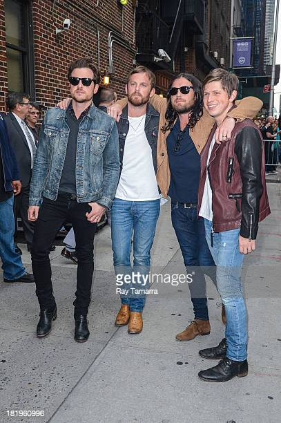 Musicians Jared Followill Caleb Followill Nathan Followill and Matthew Followill of Kings Of Leon leave the 'Late Show With David Letterman' taping...