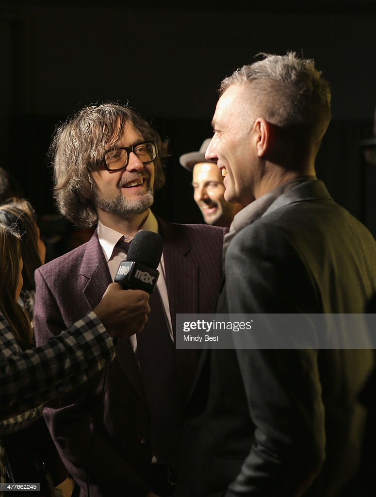 Musicians Jarvis Cocker (L) and Steve Mackey attend the 'PULP' premiere during the 2014 SXSW Music, Film + Interactive Festival at Austin Convention Center on March 9, 2014 in Austin, Texas.