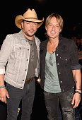 Musicians Jason Aldean and Keith Urban attend the 2016 CMT Music awards at the Bridgestone Arena on June 8 2016 in Nashville Tennessee