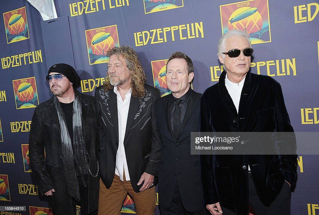 Musicians <a gi-track='captionPersonalityLinkClicked' href=/galleries/search?phrase=Jason+Bonham&family=editorial&specificpeople=1295889 ng-click='$event.stopPropagation()'>Jason Bonham</a>, <a gi-track='captionPersonalityLinkClicked' href=/galleries/search?phrase=Robert+Plant&family=editorial&specificpeople=211368 ng-click='$event.stopPropagation()'>Robert Plant</a>, <a gi-track='captionPersonalityLinkClicked' href=/galleries/search?phrase=John+Paul+Jones&family=editorial&specificpeople=244123 ng-click='$event.stopPropagation()'>John Paul Jones</a> and <a gi-track='captionPersonalityLinkClicked' href=/galleries/search?phrase=Jimmy+Page&family=editorial&specificpeople=208663 ng-click='$event.stopPropagation()'>Jimmy Page</a> attend the 'Led Zeppelin: Celebration Day' premiere at the Ziegfeld Theater on October 9, 2012 in New York City.