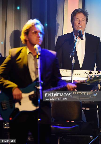 Musicians Jason Scheff and Robert Lamm of Chicago perform onstage during the 2016 PreGRAMMY Gala and Salute to Industry Icons honoring Irving Azoff...
