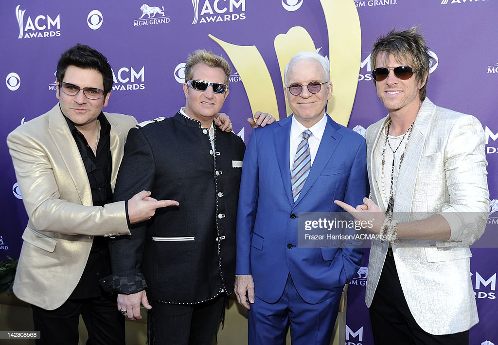 Musicians <a gi-track='captionPersonalityLinkClicked' href=/galleries/search?phrase=Jay+DeMarcus&family=editorial&specificpeople=224578 ng-click='$event.stopPropagation()'>Jay DeMarcus</a> and Gary LeVox of Rascal Flatts, actor/musician <a gi-track='captionPersonalityLinkClicked' href=/galleries/search?phrase=Steve+Martin+-+Comedian&family=editorial&specificpeople=196544 ng-click='$event.stopPropagation()'>Steve Martin</a> and musician <a gi-track='captionPersonalityLinkClicked' href=/galleries/search?phrase=Joe+Don+Rooney&family=editorial&specificpeople=241526 ng-click='$event.stopPropagation()'>Joe Don Rooney</a> of Rascal Flatts arrive at the 47th Annual Academy Of Country Music Awards held at the MGM Grand Garden Arena on April 1, 2012 in Las Vegas, Nevada.