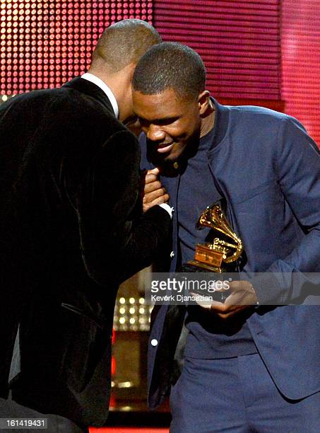 Musicians JayZ and Frank Ocean accept Best Rap/Sung Collaboration award for 'No Church in the Wild' onstage at the 55th Annual GRAMMY Awards at...