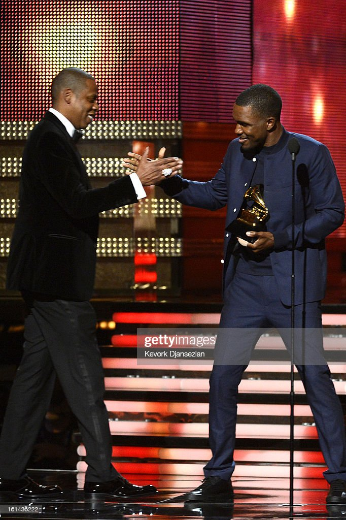 Musicians Jay-Z and Frank Ocean accept Best Rap/Sung Collaboration award for 'No Church in the Wild' onstage at the 55th Annual GRAMMY Awards at Staples Center on February 10, 2013 in Los Angeles, California.