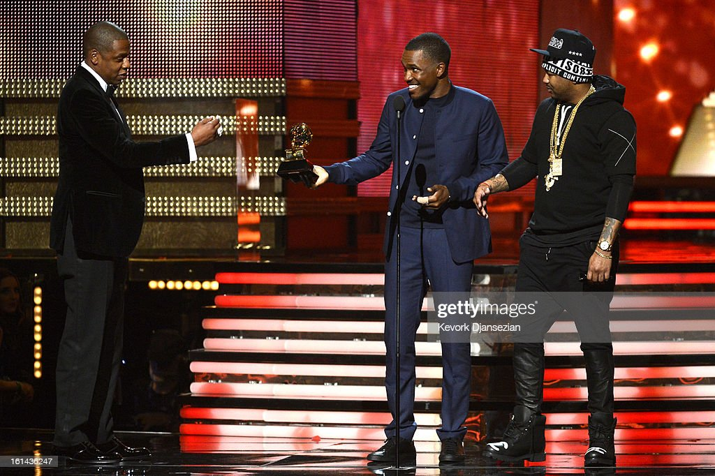 Musicians, Jay-Z, Frank Ocean and The-Dream accept Best Rap/Sung Collaboration award for 'No Church in the Wild' onstage at the 55th Annual GRAMMY Awards at Staples Center on February 10, 2013 in Los Angeles, California.