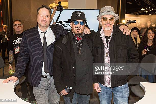 Musicians JD Andrew Teddy Andreadis and Billy Bob Thornton of The Boxmasters attend a signing at The 2017 NAMM Show on January 20 2017 in Anaheim...