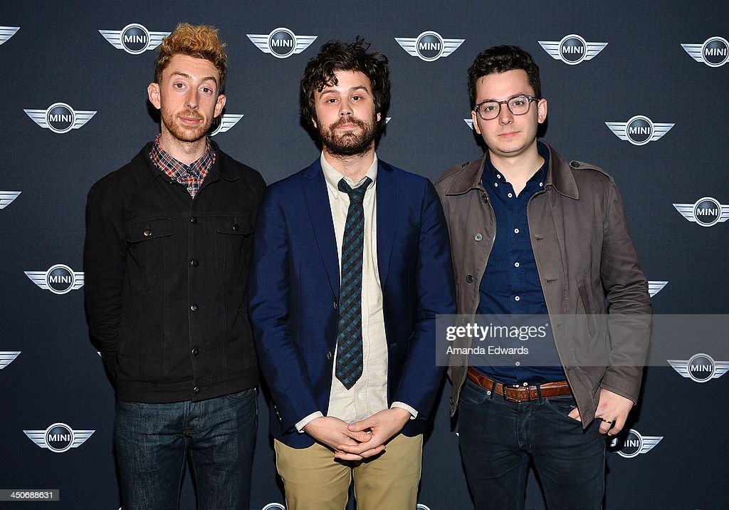 Musicians Jeff Apruzzese, Michael Angelakos and Ian Hultquist of the band Passion Pit arrive at the MINI Cooper red carpet premiere on November 19, 2013 in Los Angeles, California.