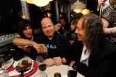 Musicians Jeff Beck Jan Hammer and Kirk Hammett attend the after party at Les Paul's 95th Birthday with Special Intimate Performance at Iridium Jazz...