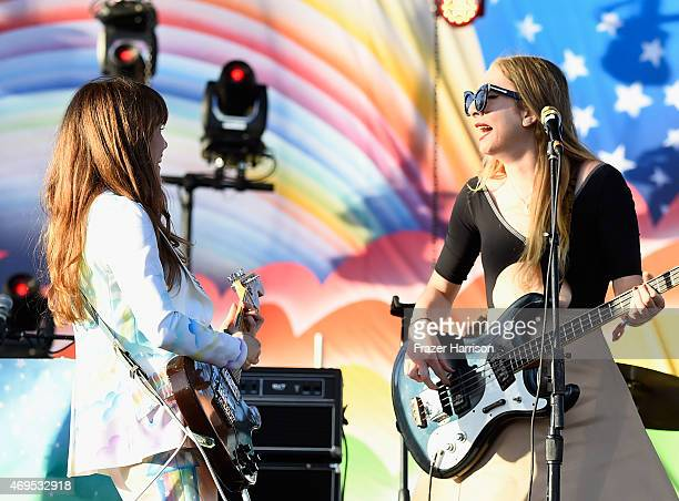 Musicians Jenny Lewis and Este Haim perform onstage during day 3 of the 2015 Coachella Valley Music Arts Festival at the Empire Polo Club on April 12...
