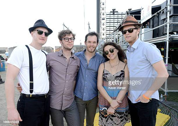Musicians Jeremiah Fraites Ben Wahamaki Stelth Ulvang Neyla Pekarek and Wesley Schultz of the band The Lumineers pose backstage during day 3 of the...