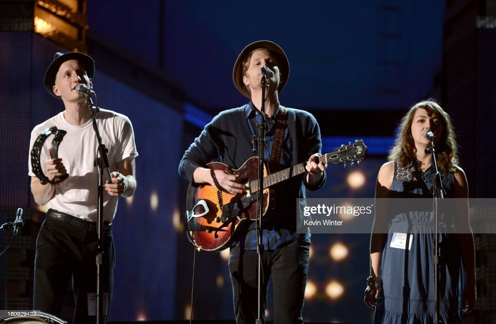 Musicians Jeremiah Fraites, Wesley Schultz, and Neyla Pekarek of The Lumineers rehearse onstage during the 55th Annual GRAMMY Awards at the STAPLES Center on February 7, 2013 in Los Angeles, California.