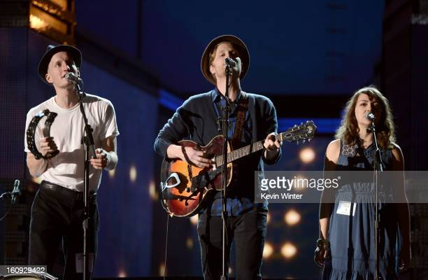 Musicians Jeremiah Fraites Wesley Schultz and Neyla Pekarek of The Lumineers rehearse onstage during the 55th Annual GRAMMY Awards at the STAPLES...