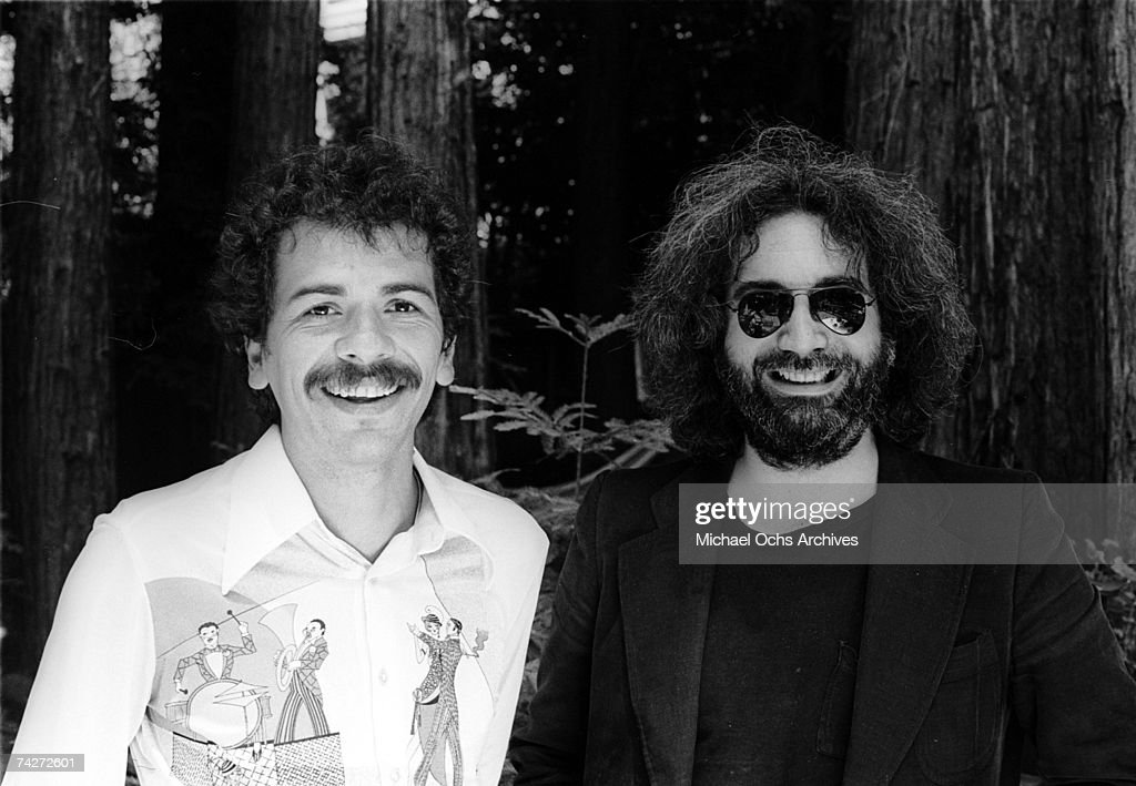 Musicians Jerry Garcia and Carlos Santana pose for a portrait in 1976 in Mill Valley, California.