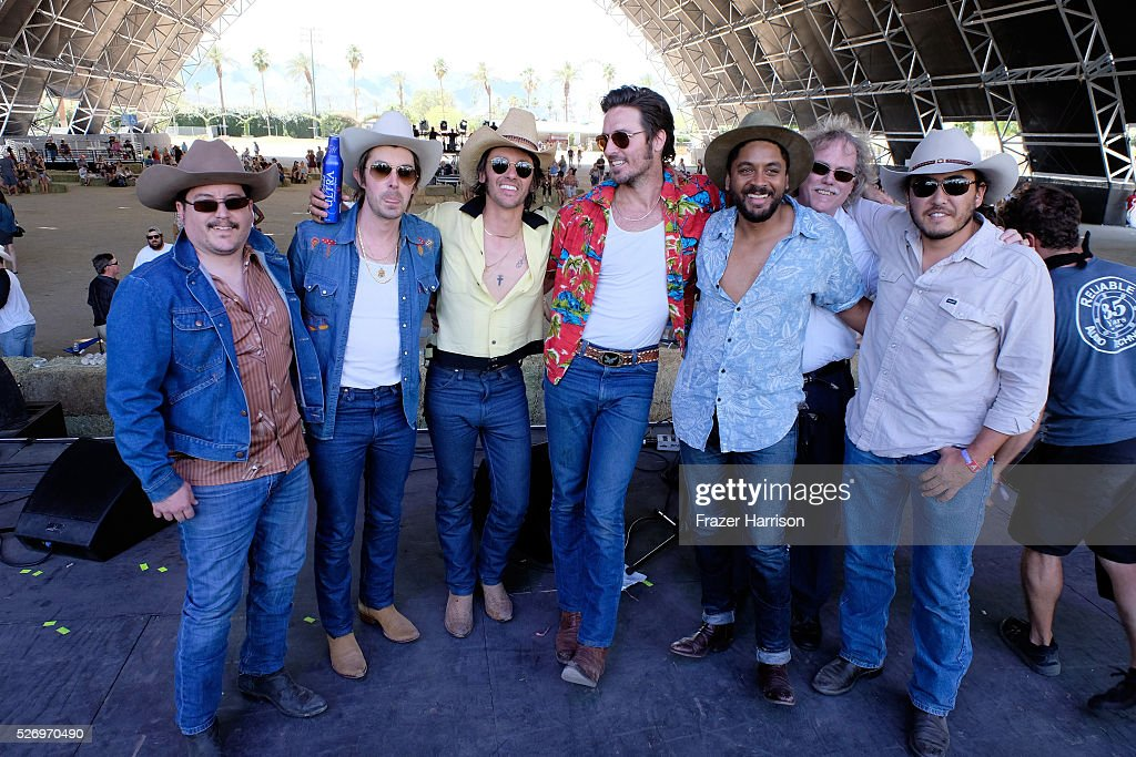Musicians Jess Carson (2ND L), Cameron Duddy (3RD L) and Mark Wystrach (4TH L) and band members from Midland perform onstage during 2016 Stagecoach California's Country Music Festival at Empire Polo Club on May 01, 2016 in Indio, California.