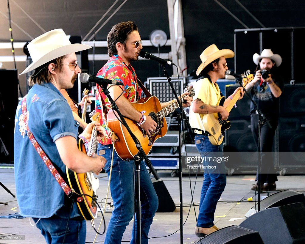 Musicians Jess Carson, Mark Wystrach and Cameron Duddy of the band Midland perform onstage during 2016 Stagecoach California's Country Music Festival at Empire Polo Club on May 01, 2016 in Indio, California.