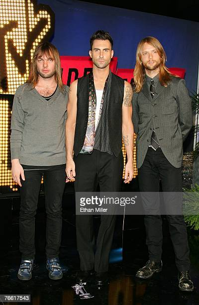 Musicians Jesse Carmichael Adam Levine and James Valentine of Maroon 5 arrive at the 2007 MTV Video Music Awards held at The Palms Hotel and Casino...