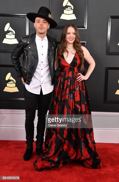 Musicians Jesse Huerta and Joy Huerta of Jesse Joy attend The 59th GRAMMY Awards at STAPLES Center on February 12 2017 in Los Angeles California