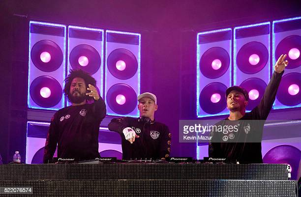 R Musicians Jillionaire Diplo and Walshy Fire of Major Lazer perform onstage during day 3 of the 2016 Coachella Valley Music And Arts Festival...