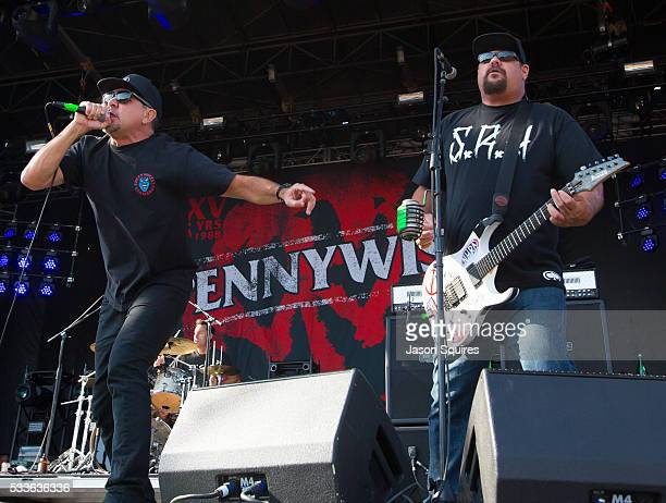 Musicians Jim Lindberg and Fletcher Dragge of Pennywise perform at MAPFRE Stadium on May 22 2016 in Columbus Ohio