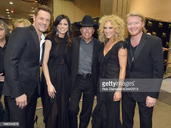 Musicians Jimi Westbrook and Karen Fairchild of Little Big Town George Strait and Kimberly Schlapman and Phillip Sweet of Little Big Town attend the...