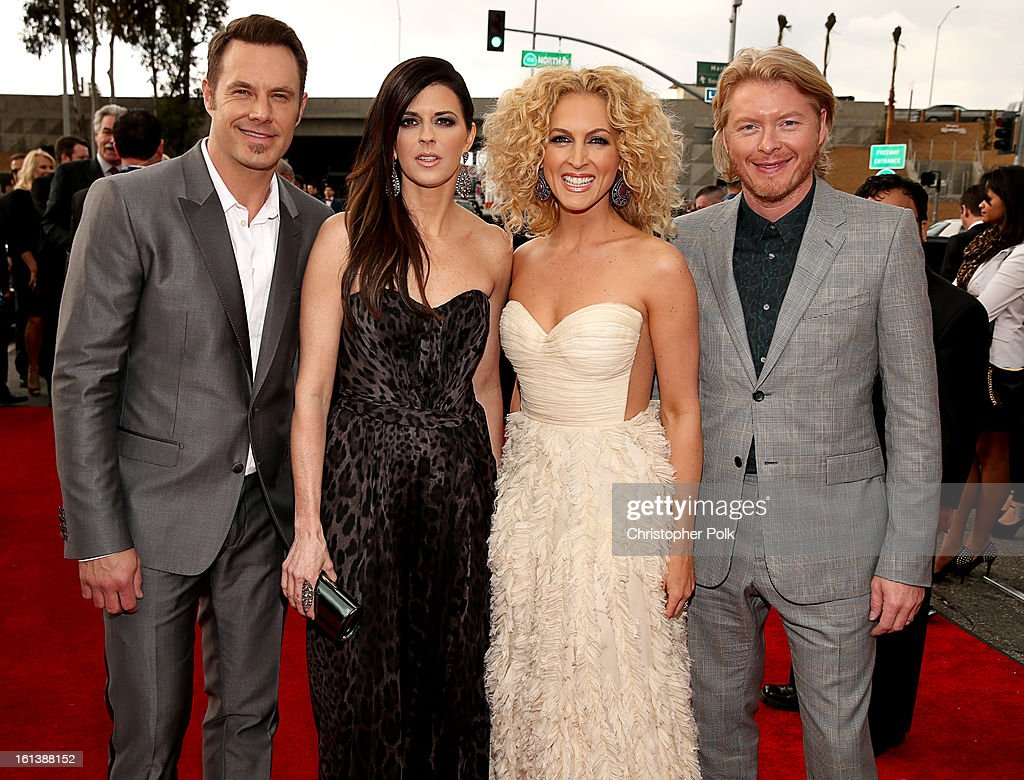 Musicians Jimi Westbrook, Karen Fairchild, Kimberly Schlapman and Phillip Sweet of 'Little Big Town arrive at the 55th Annual GRAMMY Awards on February 10, 2013 in Los Angeles, California.