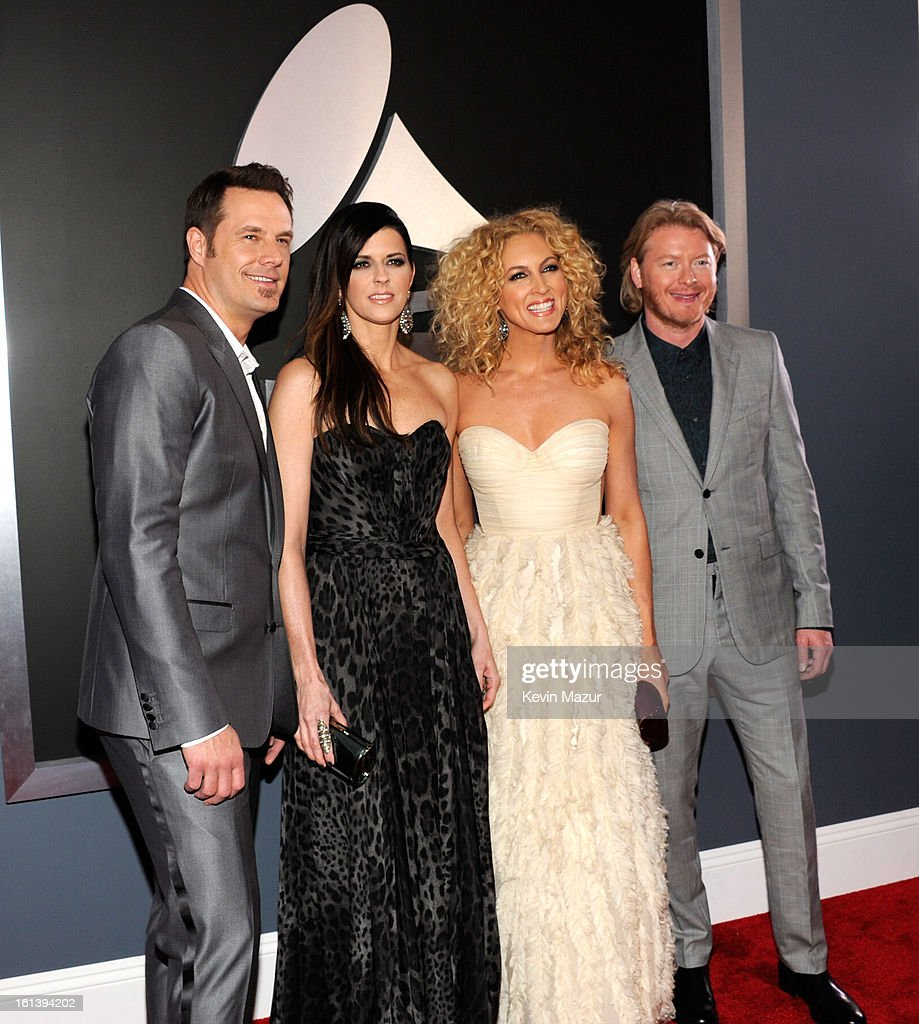 Musicians Jimi Westbrook, Karen Fairchild, Kimberly Schlapman and Phillip Sweet of 'Little Big Town attend the 55th Annual GRAMMY Awards at STAPLES Center on February 10, 2013 in Los Angeles, California.