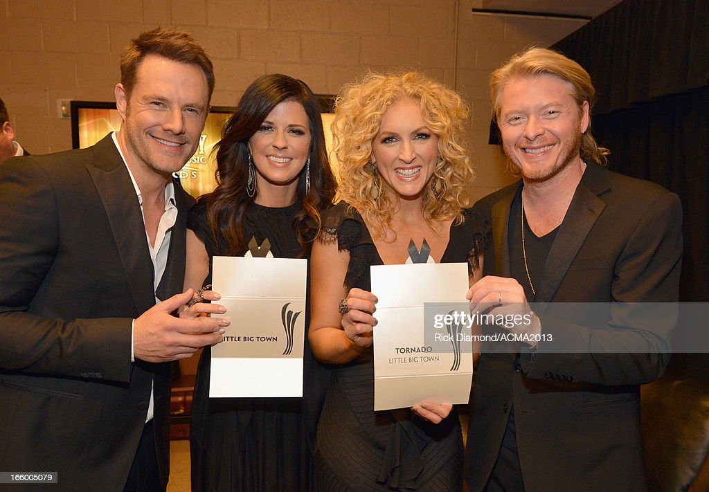 Musicians Jimi Westbrook, Karen Fairchild, Kimberly Schlapman and Phillip Sweet of Little Big Town attend the 48th Annual Academy of Country Music Awards at the MGM Grand Garden Arena on April 7, 2013 in Las Vegas, Nevada.