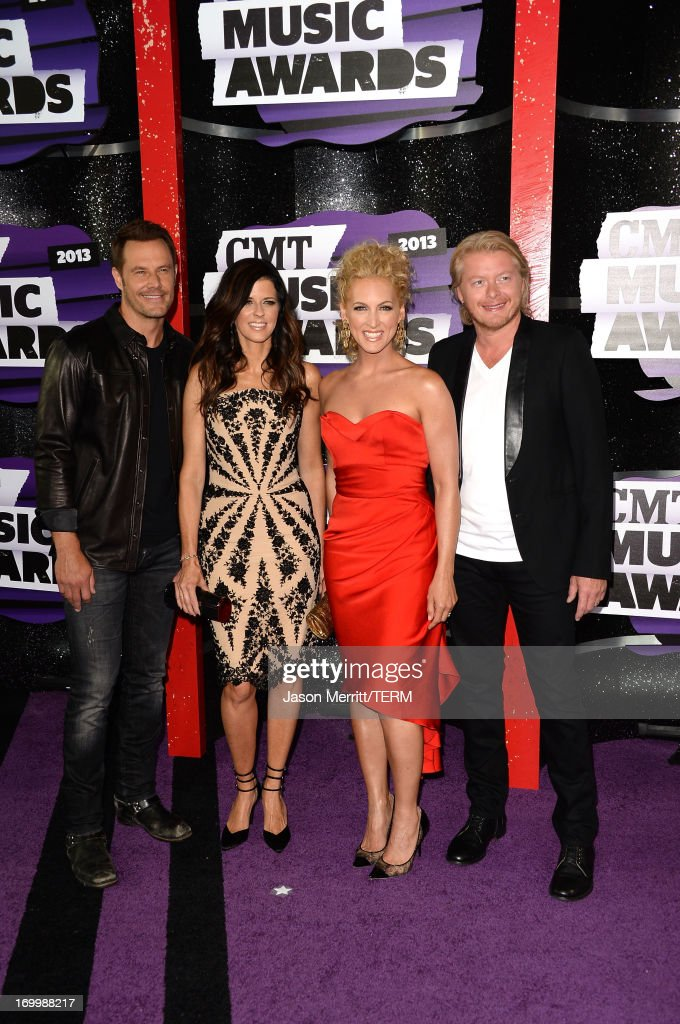 Musicians Jimi Westbrook, Karen Fairchild, Kimberly Schlapman and Phillip Sweet of Little Big Town attend the 2013 CMT Music awards at the Bridgestone Arena on June 5, 2013 in Nashville, Tennessee.