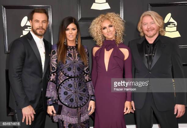 Musicians Jimi Westbrook Karen Fairchild Kimberly Schlapman and Philip Sweet of Little Big Town attend The 59th GRAMMY Awards at STAPLES Center on...