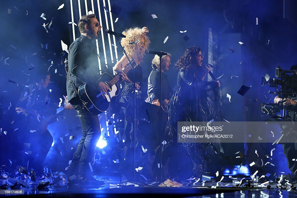 Musicians Jimi Westbrook, Kimberly Roads Schlapman, Karen Fairchild and Phillip Sweet of Little Big Town perform onstage during the 2012 American Country Awards at the Mandalay Bay Events Center on December 10, 2012 in Las Vegas, Nevada.