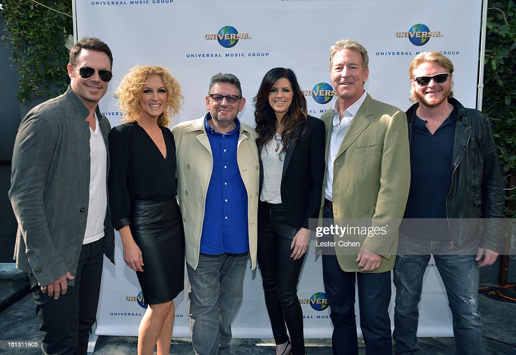 Musicians Jimi Westbrook, Kimberly Schlapman, Chairman/CEO of Universal Music International Lucian Grainge, musician Karen Fairchild, President/CEO of Universal Music Group Distribution Jim Urie, and musician Phillip Sweet attend Universal Music Group Showcase '13 Backstage at Lure on February 9, 2013 in Hollywood, California.
