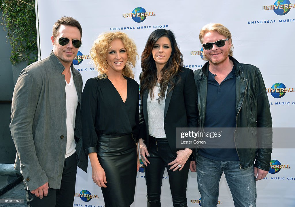 Musicians Jimi Westbrook, Kimberly Schlapman, Karen Fairchild, and Phillip Sweet of 'Little Big Town' attend Universal Music Group Showcase '13 Backstage at Lure on February 9, 2013 in Hollywood, California.