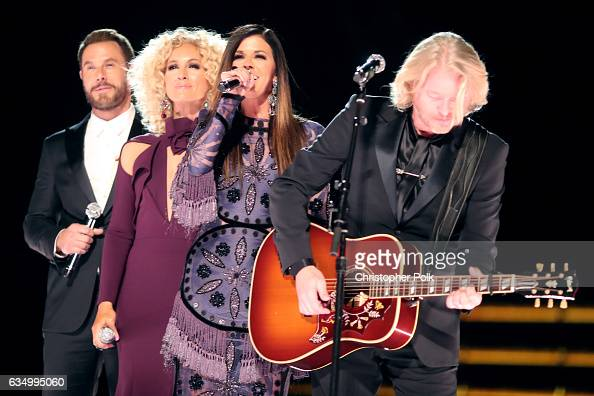 Musicians Jimi Westbrook Kimberly Schlapman Karen Fairchild and Phillip Sweet of Little Big Towwn during The 59th GRAMMY Awards at STAPLES Center on...