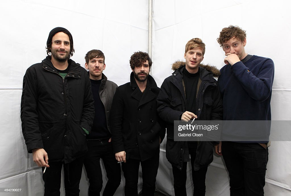 Musicians Jimmy Smith Edwin Congreave Yannis Philippakis Jack Bevan and Walter Gervers of Foals pose backstage during The 24th Annual KROQ Almost...