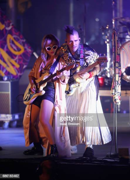 Musicians JinJoo Lee and Cole Whittle of DNCE perform on the second night of CBS RADIO's 'SPF' concert at The Boulevard Pool at The Cosmopolitan of...